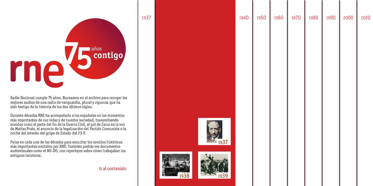 Figura 1: Portada del especial del 75º aniversario de RNE / Fuente: rtve.es