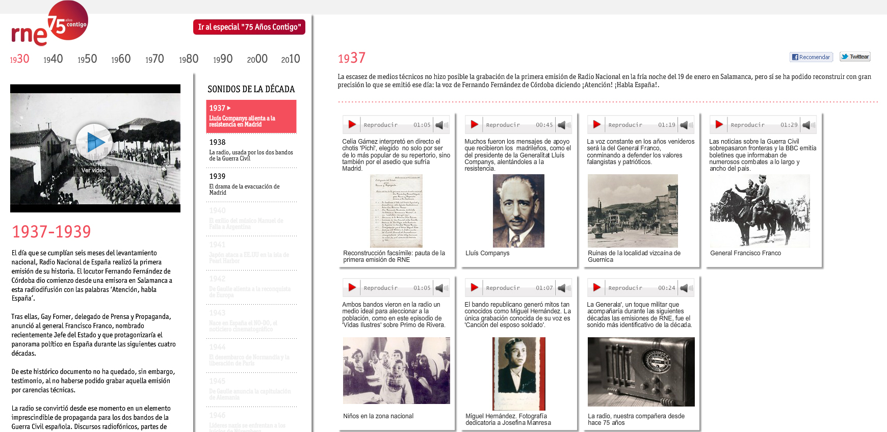 Figura 2: Captura de pantalla del interior del especial del 75º aniversario de RNE / Fuente: rtve.es